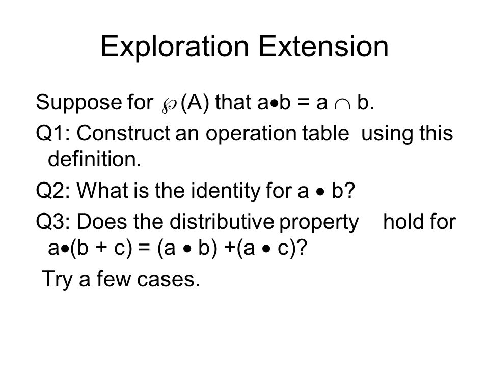 Exploration Extension Suppose for  (A) that a  b = a  b.