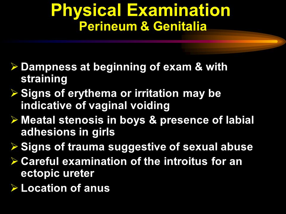 Physical Examination Perineum & Genitalia  Dampness at beginning of exam & with straining  Signs of erythema or irritation may be indicative of vaginal voiding  Meatal stenosis in boys & presence of labial adhesions in girls  Signs of trauma suggestive of sexual abuse  Careful examination of the introitus for an ectopic ureter  Location of anus