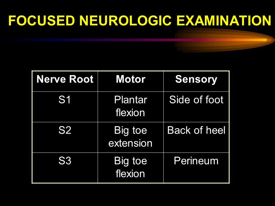 FOCUSED NEUROLOGIC EXAMINATION Nerve RootMotorSensory S1Plantar flexion Side of foot S2Big toe extension Back of heel S3Big toe flexion Perineum