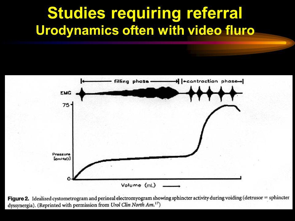 Studies requiring referral Urodynamics often with video fluro