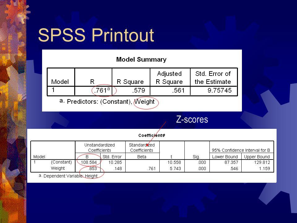 SPSS Printout Z-scores