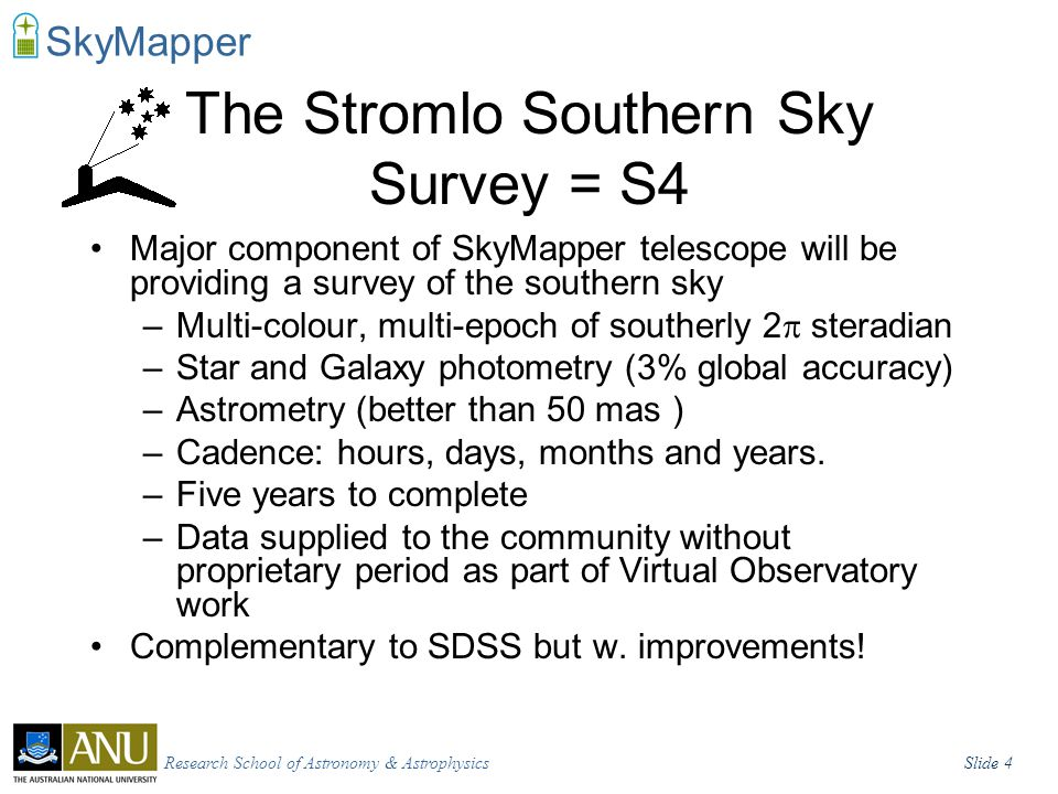 Research School of Astronomy & AstrophysicsSlide 5 SkyMapper Survey Science The survey science goals are broad but some of the areas where I think SkyMapper stands to have largest impact are: What is the distribution of large Solar-System objects beyond Neptune.