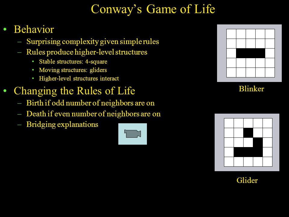 Conway's Game of Life Behavior –Surprising complexity given simple rules –Rules produce higher-level structures Stable structures: 4-square Moving structures: gliders Higher-level structures interact Changing the Rules of Life –Birth if odd number of neighbors are on –Death if even number of neighbors are on –Bridging explanations Blinker Glider
