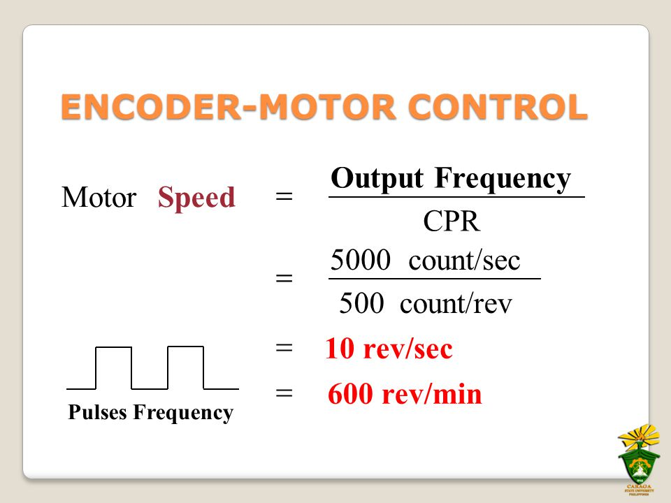 600 rev/min  10 rev/sec  count/rev500 count/sec5000  CPR Output Frequency SpeedMotor  ENCODER-MOTOR CONTROL Pulses Frequency