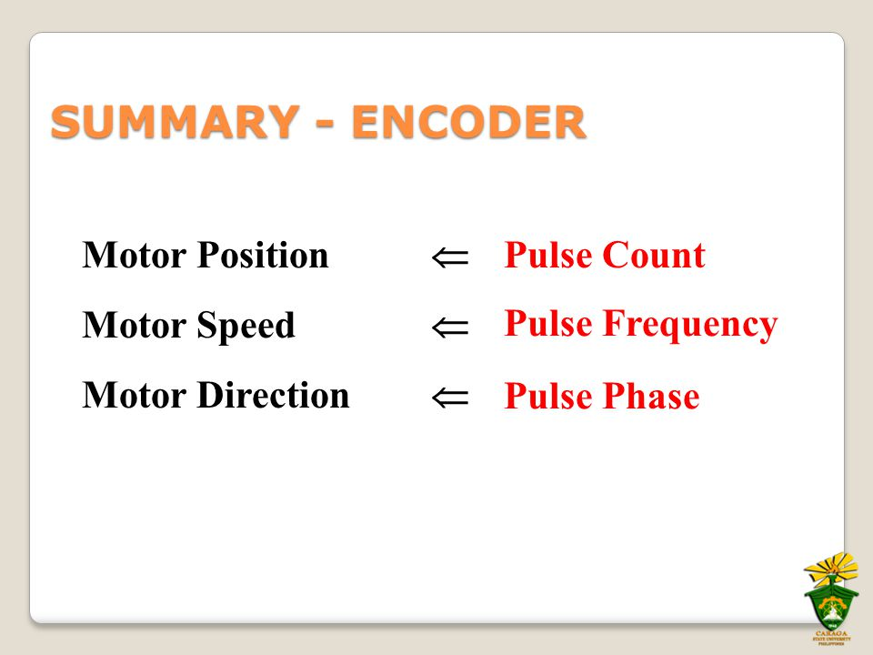 SUMMARY - ENCODER Motor Position  Motor Speed  Motor Direction  Pulse Count Pulse Frequency Pulse Phase