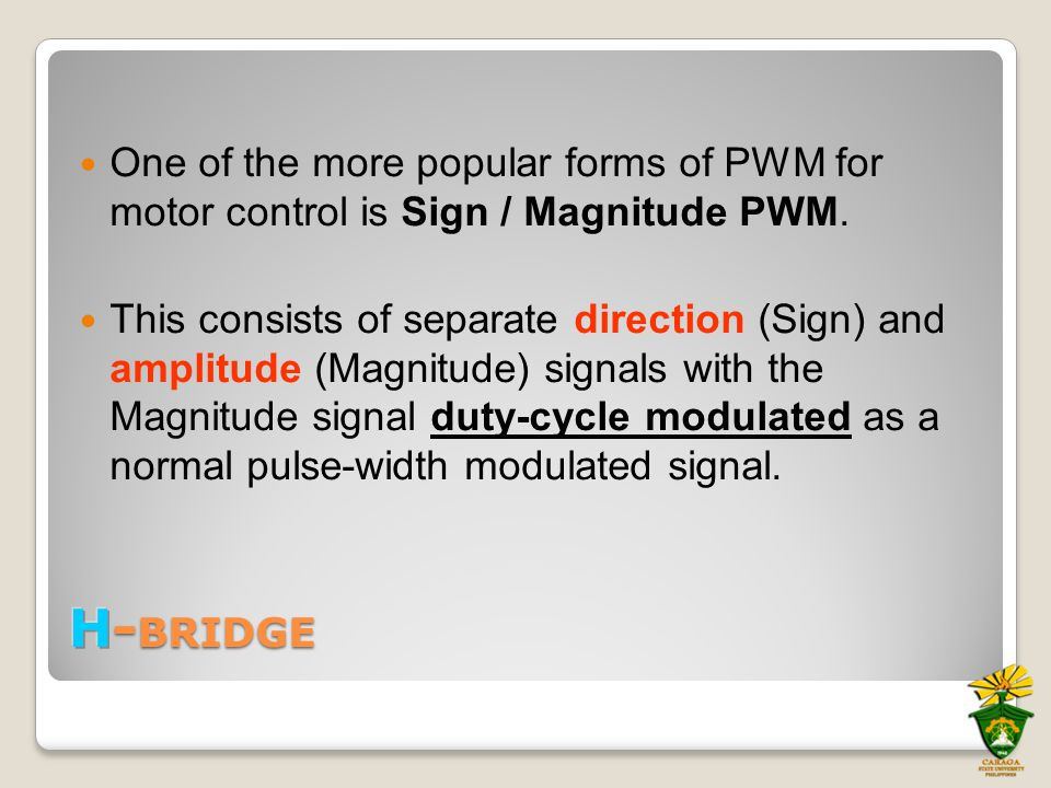 One of the more popular forms of PWM for motor control is Sign / Magnitude PWM. This consists of separate direction (Sign) and amplitude (Magnitude) s