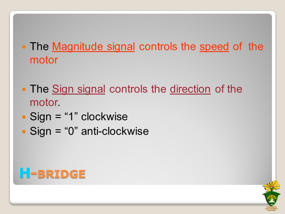 """The Magnitude signal controls the speed of the motor The Sign signal controls the direction of the motor. Sign = """"1"""" clockwise Sign = """"0"""" anti-clockwi"""
