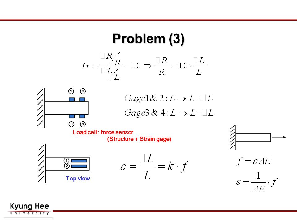 Problem (3) Load cell : force sensor (Structure + Strain gage) ① ② ③ ④ ① ② Top view