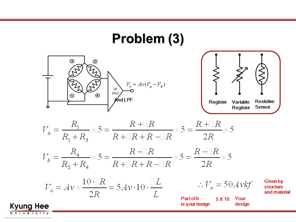 ① ② ③ ④ And LPF Problem (3) Part of it is your design 5 X 10 Your design Given by structure and material RegisterVariable Register Resistive Sensor
