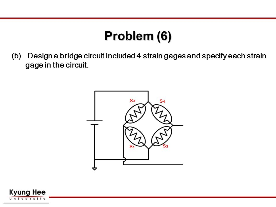  Design a bridge circuit included 4 strain gages and specify each strain gage in the circuit.