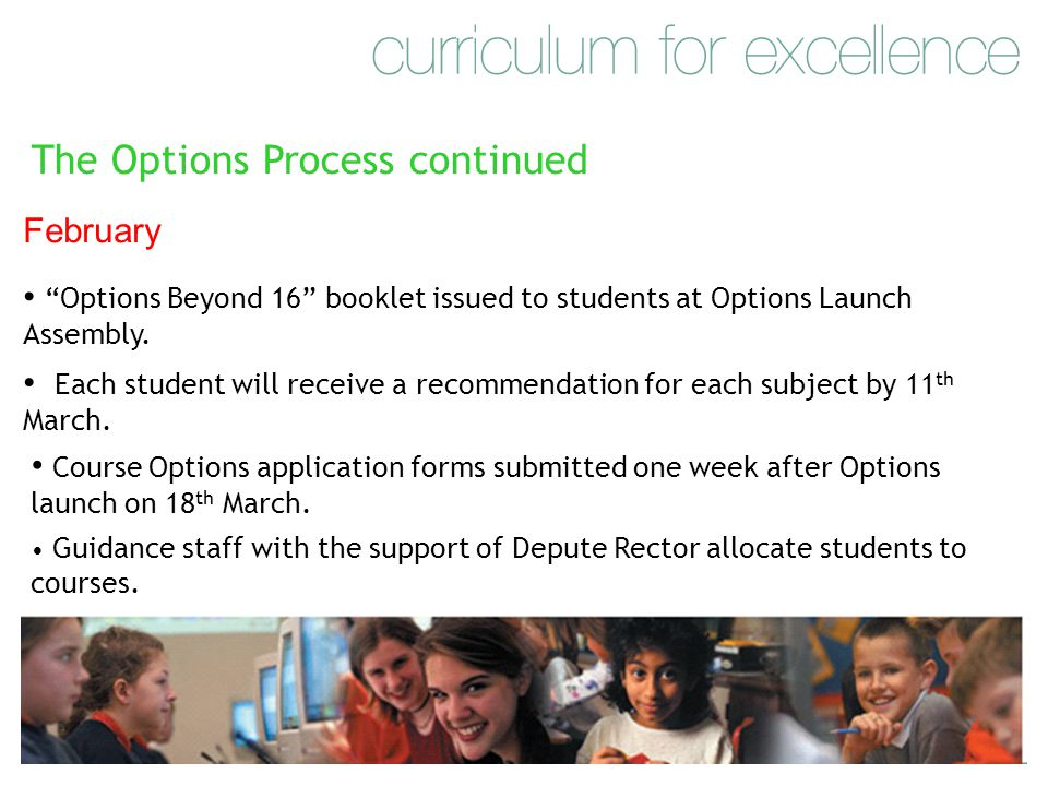 The Options Process continued February Options Beyond 16 booklet issued to students at Options Launch Assembly.