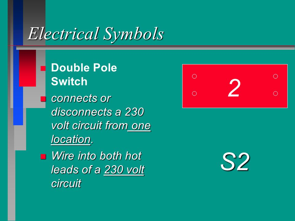Electrical Symbols n n Double Pole Switch n connects or disconnects a 230 volt circuit from one location. n Wire into both hot leads of a 230 volt cir