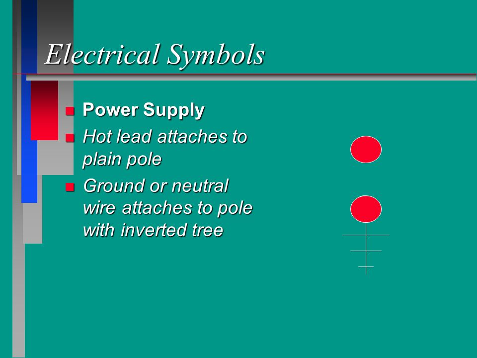 Electrical Symbols n n Switch Wiring n color coded wires to complete the desired circuit n 5 conductor colors n Black, White, Red, n Blue, Yellow n Green safety ground S B W R Bl Y