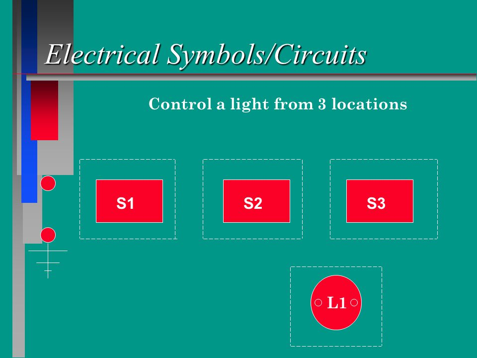 Electrical Symbols/Circuits Control a light from 3 locations S1S2S3 L1
