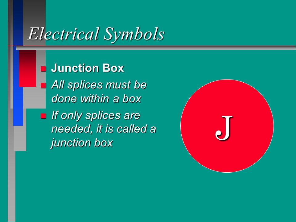 Electrical Symbols n Junction Box n All splices must be done within a box n If only splices are needed, it is called a junction box J