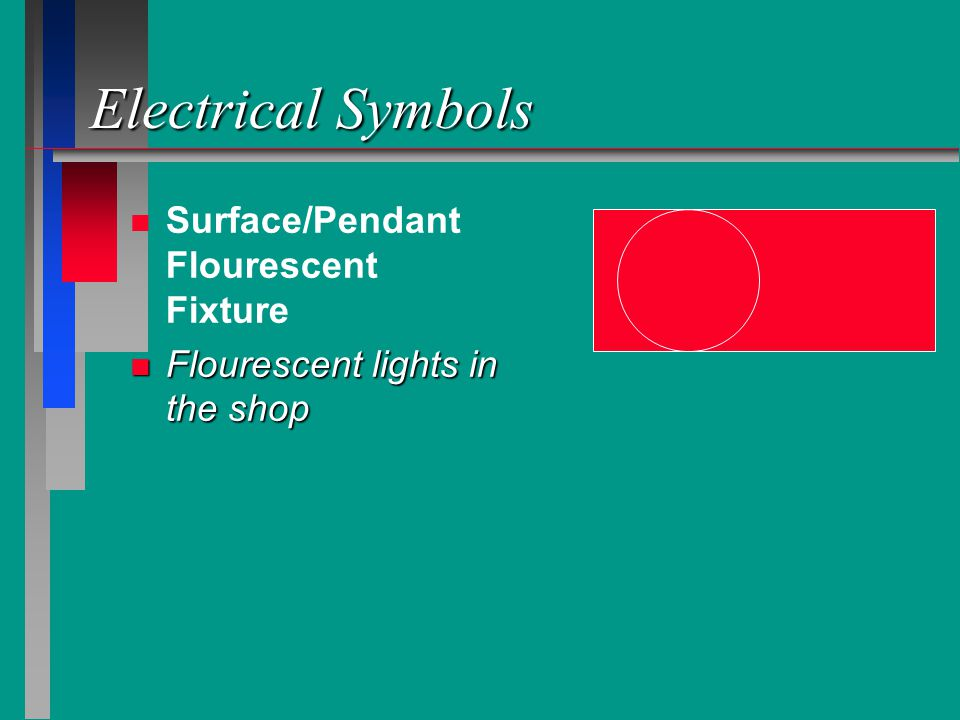 Electrical Symbols n n Surface/Pendant Flourescent Fixture n Flourescent lights in the shop