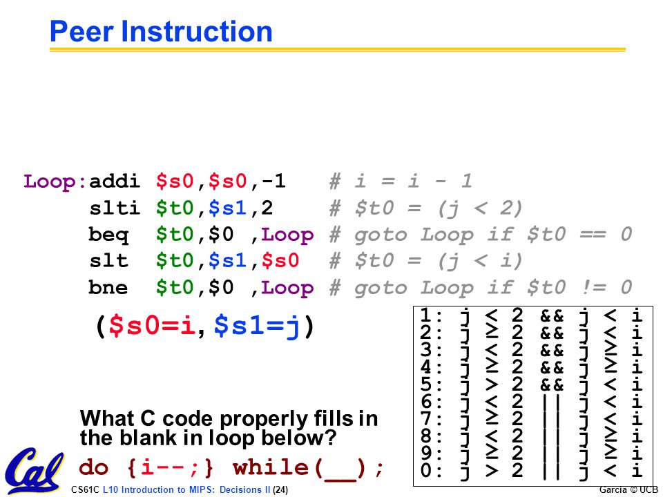 CS61C L10 Introduction to MIPS: Decisions II (24) Garcia © UCB What C code properly fills in the blank in loop below? Peer Instruction do {i--;} while