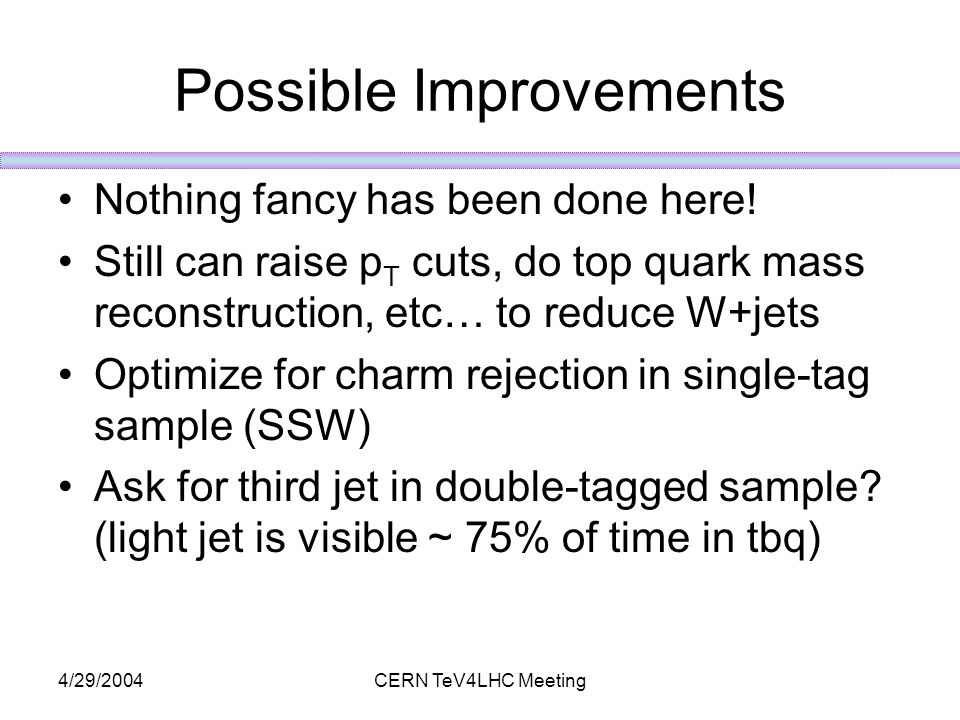 4/29/2004CERN TeV4LHC Meeting Possible Improvements Nothing fancy has been done here.