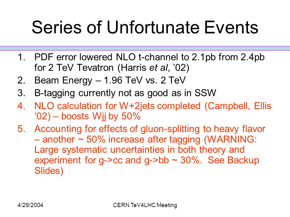 4/29/2004CERN TeV4LHC Meeting Series of Unfortunate Events 1.PDF error lowered NLO t-channel to 2.1pb from 2.4pb for 2 TeV Tevatron (Harris et al, '02) 2.Beam Energy – 1.96 TeV vs.