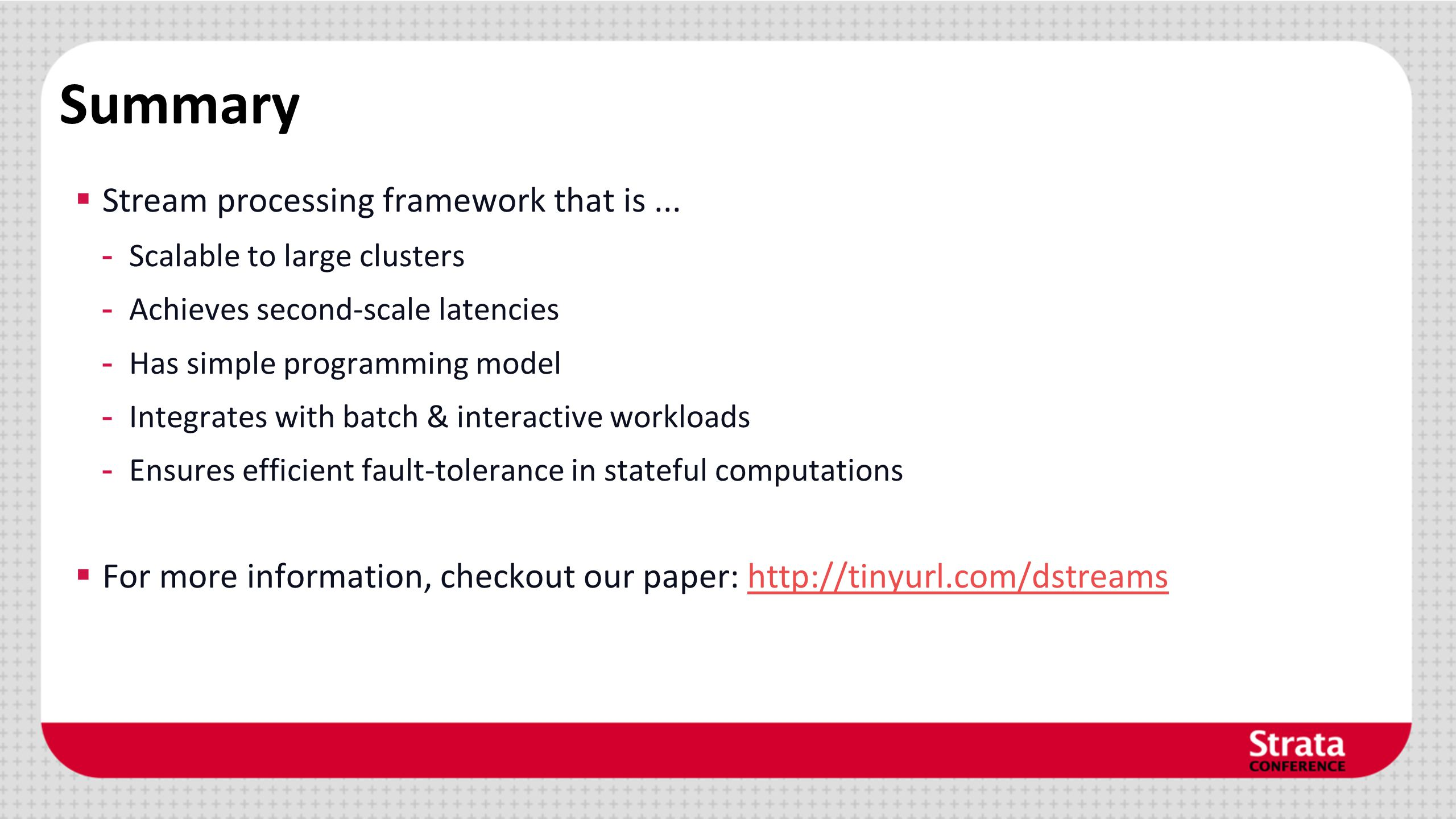 Summary  Stream processing framework that is...