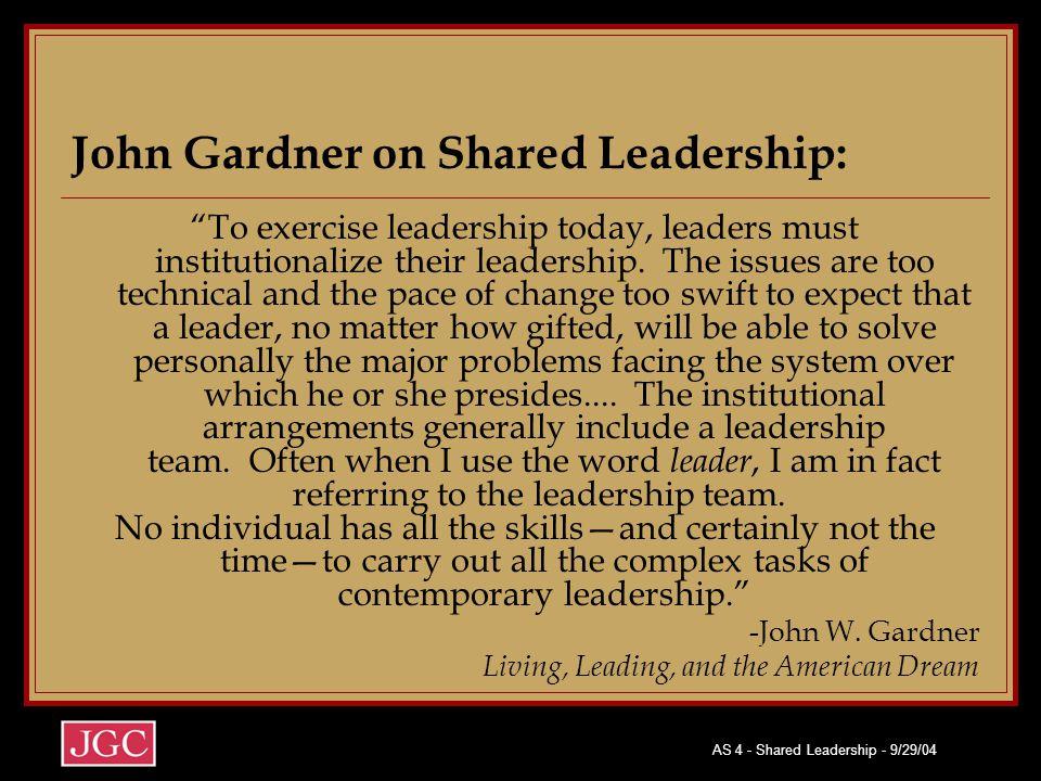 "AS 4 - Shared Leadership - 9/29/04 John Gardner on Shared Leadership: ""To exercise leadership today, leaders must institutionalize their leadership. T"