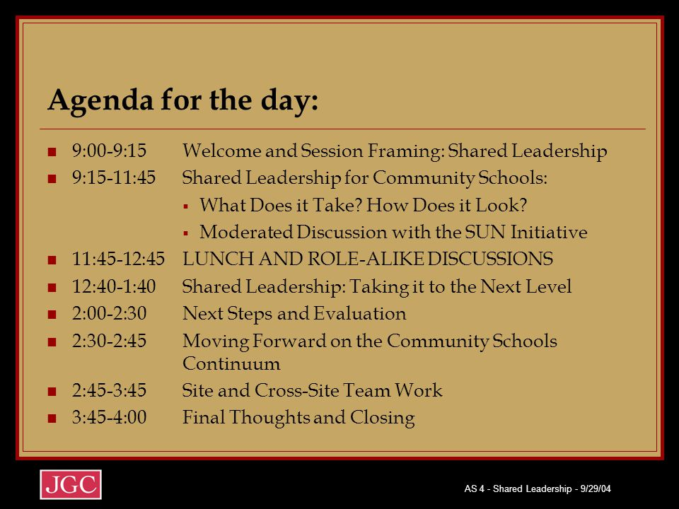 AS 4 - Shared Leadership - 9/29/04 Agenda for the day: 9:00-9:15Welcome and Session Framing: Shared Leadership 9:15-11:45Shared Leadership for Community Schools:  What Does it Take.