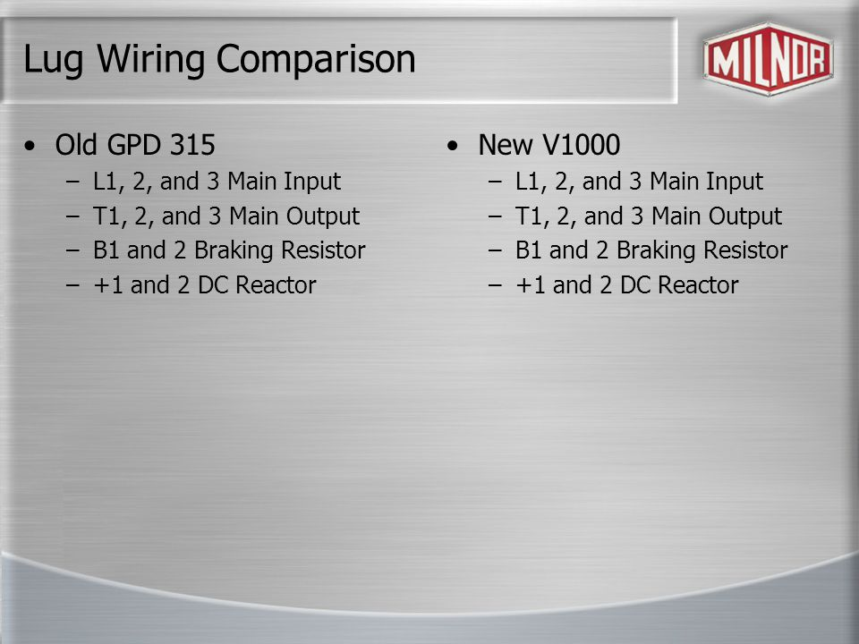 Lug Wiring Comparison Old GPD 315 –L1, 2, and 3 Main Input –T1, 2, and 3 Main Output –B1 and 2 Braking Resistor –+1 and 2 DC Reactor New V1000 –L1, 2, and 3 Main Input –T1, 2, and 3 Main Output –B1 and 2 Braking Resistor –+1 and 2 DC Reactor