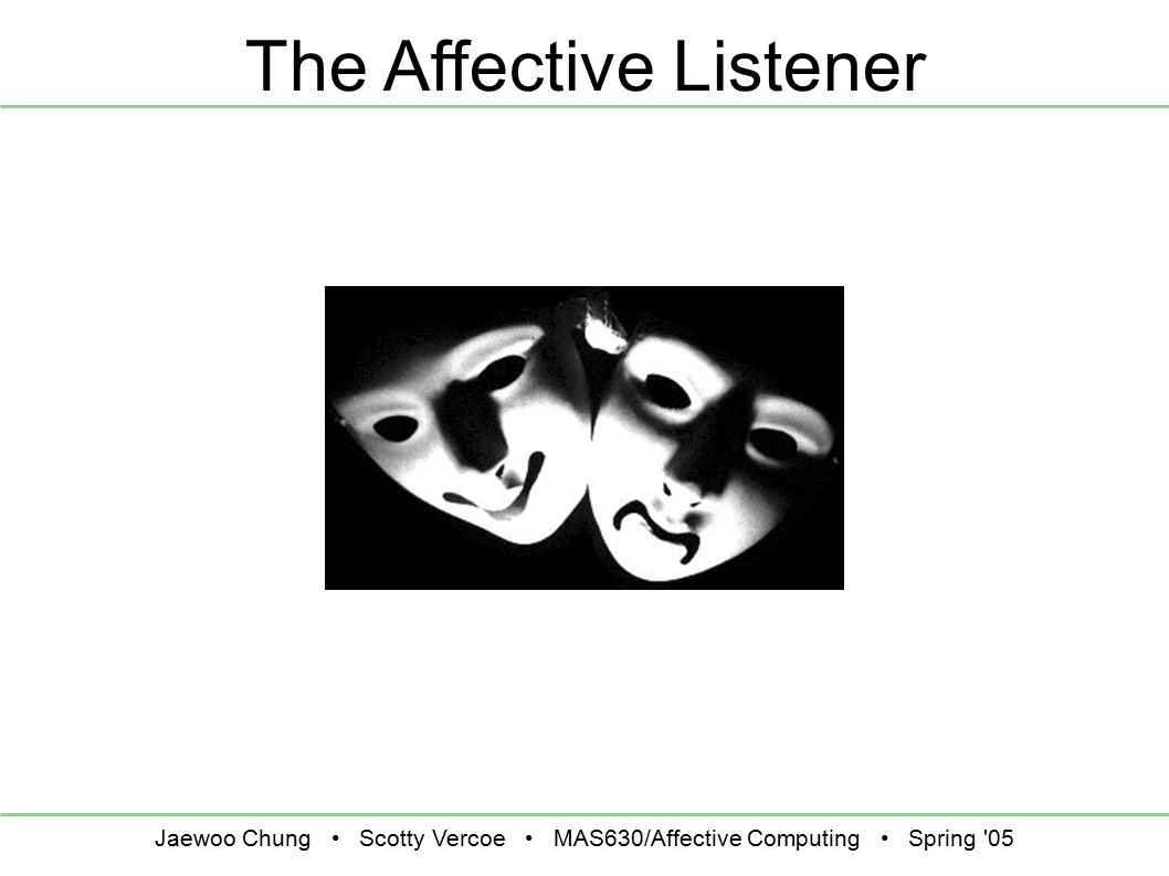 Jaewoo Chung Scotty Vercoe MAS630/Affective Computing Spring 05 The Affective Listener