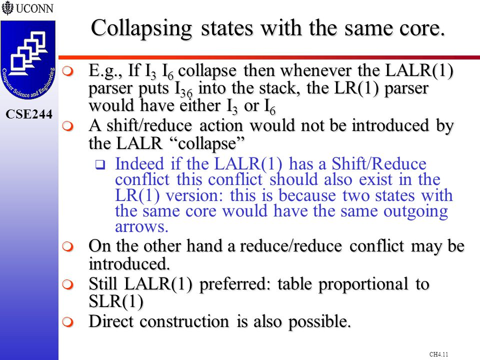 CH4.11 CSE244 Collapsing states with the same core.