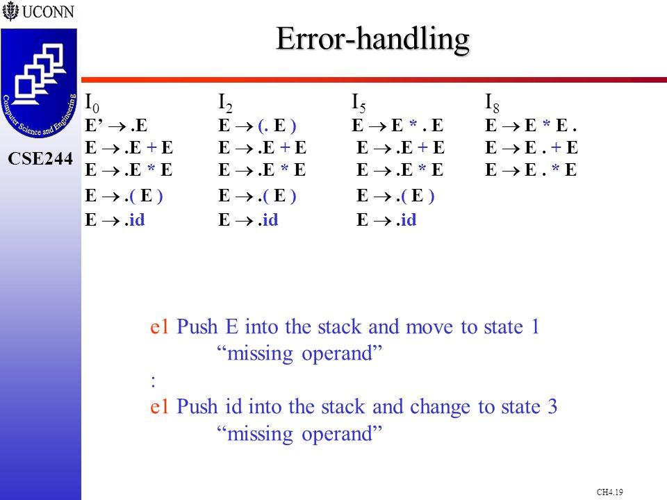 CH4.19 CSE244Error-handling I 0 I 2 I 5 I 8 E' .EE  (.