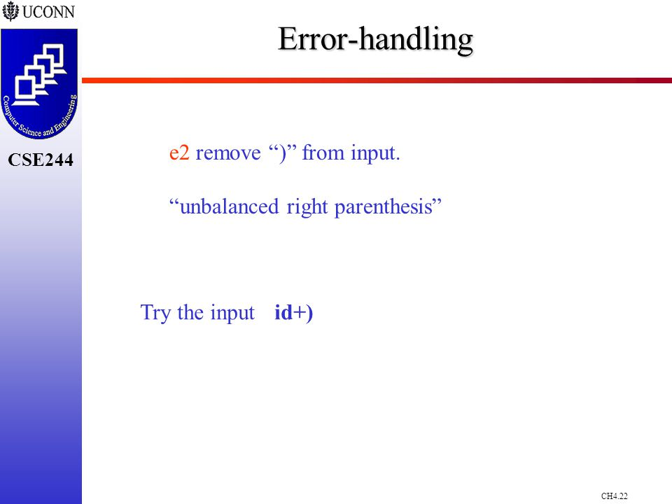 CH4.22 CSE244Error-handling e2 remove ) from input.