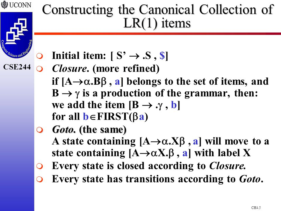 CH4.5 CSE244 Constructing the Canonical Collection of LR(1) items   Initial item: [ S' .S, $]   Closure.