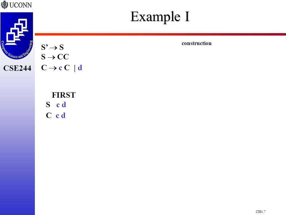 CH4.7 CSE244 Example I S'  S S  CC C  c C | d FIRST S c d C c d construction