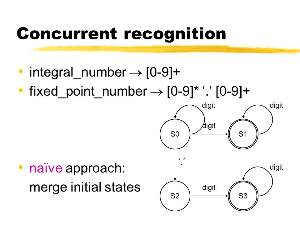 Concurrent recognition integral_number  [0-9]+ fixed_point_number  [0-9]* '.' [0-9]+ naïve approach: merge initial states digit S0 '.' digit S2 digit S3 digit S1