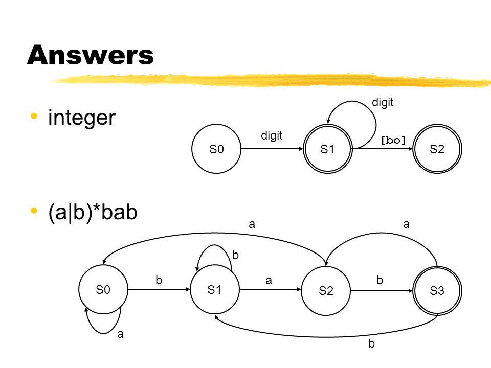 integer (a|b)*bab S2S3 S0S1 a b b b b a a a digit S0 digit S1 S2S2 [bo]