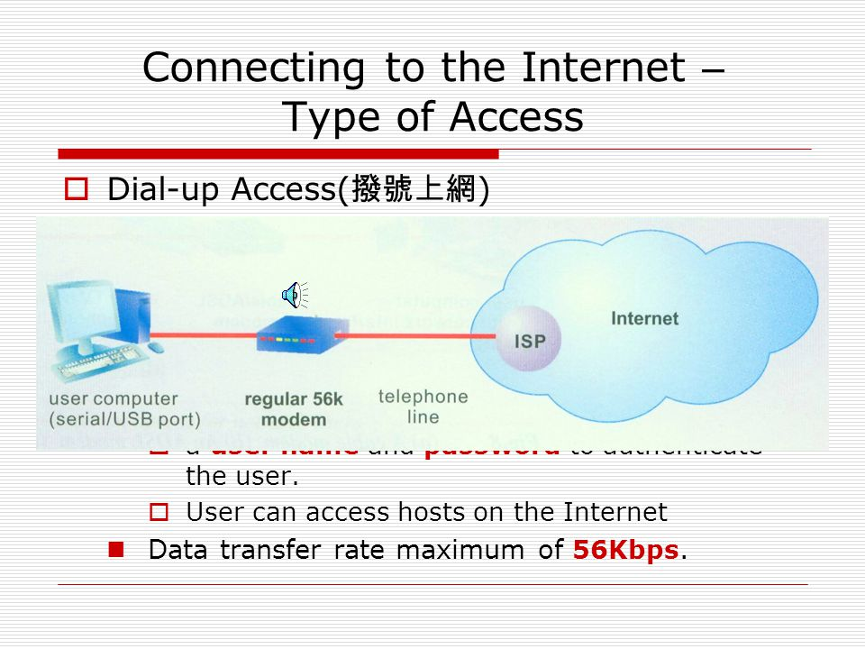 Connecting to the Internet – Type of Access  Dial-up Access( 撥號上網 ) It needs  a telephone line  MODEM User  dials a telephone number given by the
