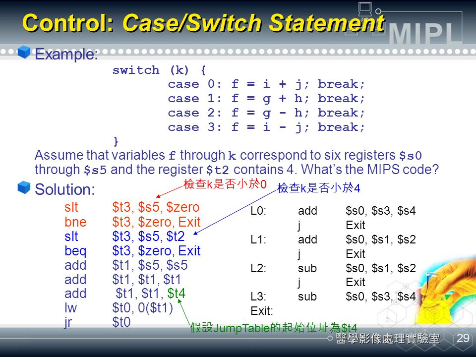 29 Control: Case/Switch Statement Example: switch (k) { case 0: f = i + j; break; case 1: f = g + h; break; case 2: f = g - h; break; case 3: f = i -