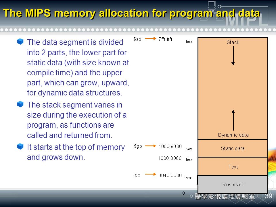 39 The MIPS memory allocation for program and data The data segment is divided into 2 parts, the lower part for static data (with size known at compil