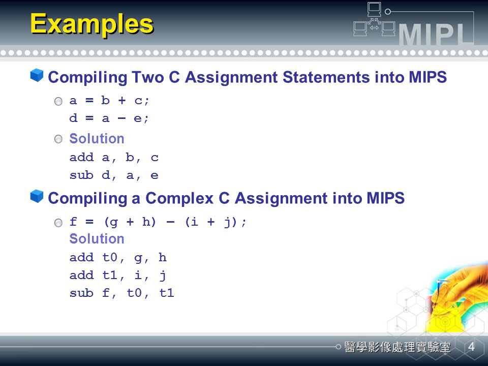 4 Examples Compiling Two C Assignment Statements into MIPS a = b + c; d = a – e; Solution add a, b, c sub d, a, e Compiling a Complex C Assignment int