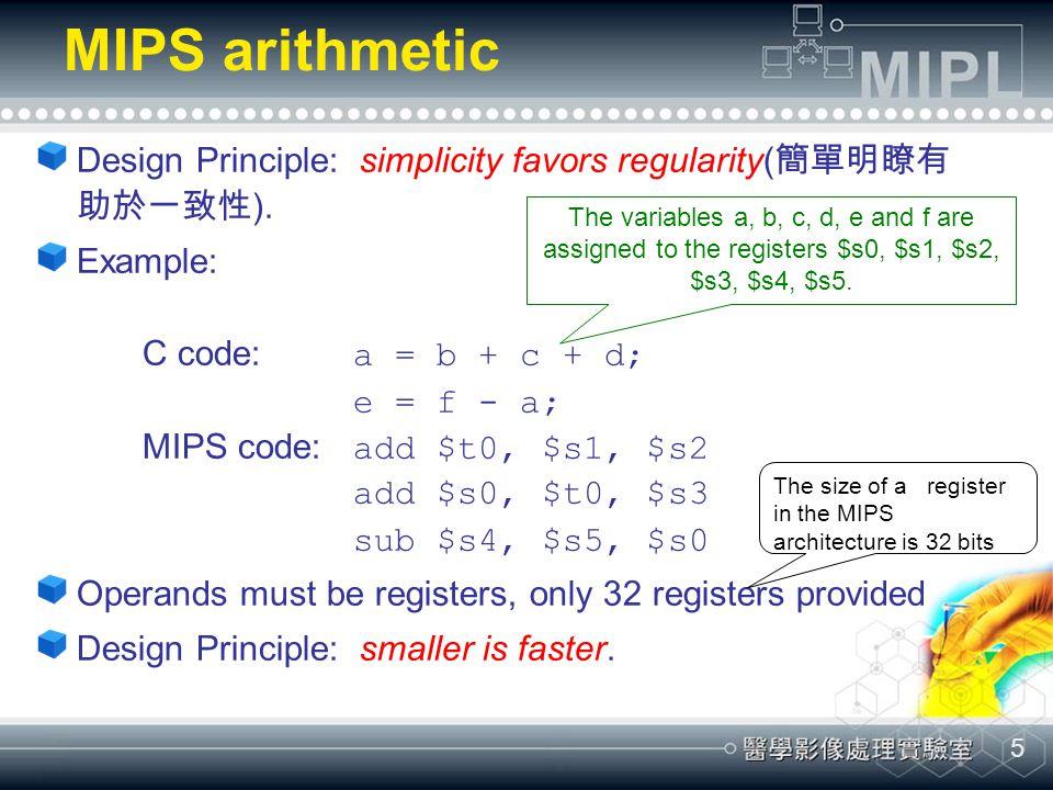 5 MIPS arithmetic Design Principle: simplicity favors regularity( 簡單明瞭有 助於一致性 ).