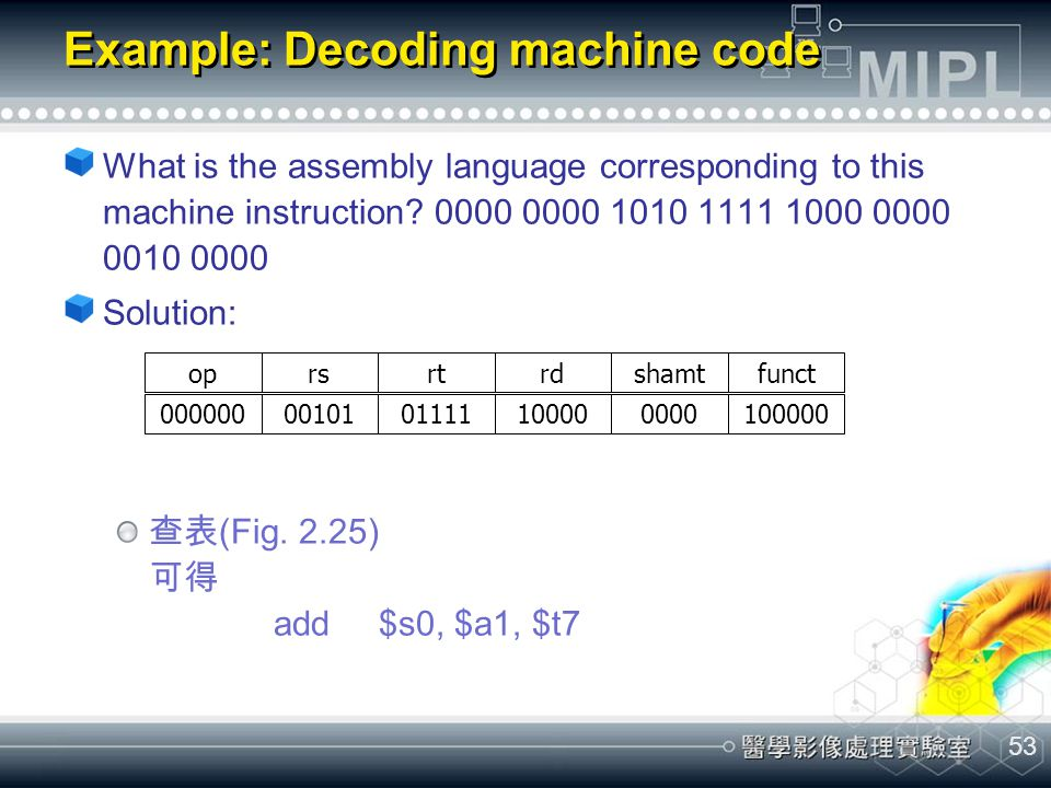 53 Example: Decoding machine code What is the assembly language corresponding to this machine instruction? 0000 0000 1010 1111 1000 0000 0010 0000 Sol