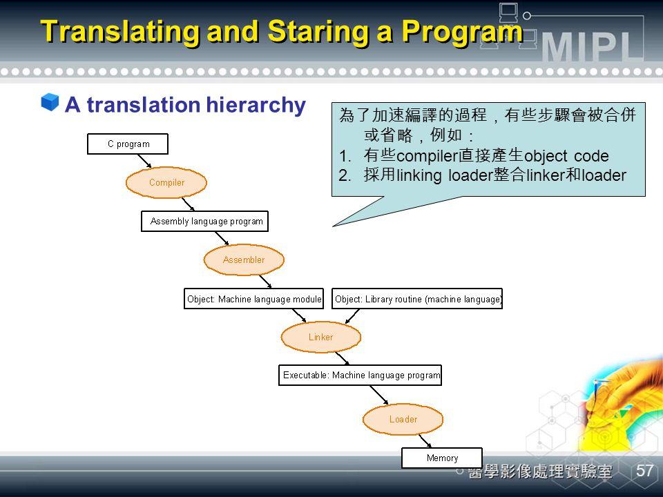 57 Translating and Staring a Program A translation hierarchy 為了加速編譯的過程,有些步驟會被合併 或省略,例如: 1.