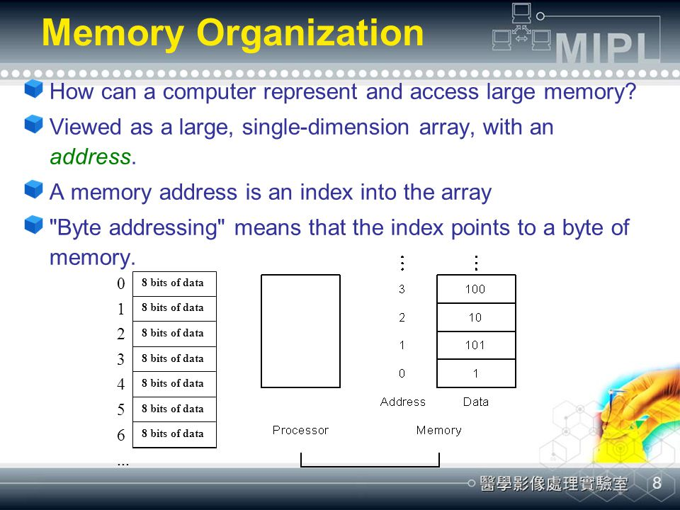 8 Memory Organization How can a computer represent and access large memory? Viewed as a large, single-dimension array, with an address. A memory addre