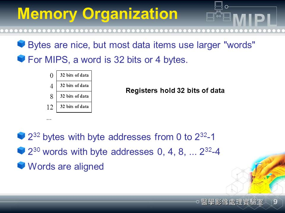 9 Memory Organization Bytes are nice, but most data items use larger