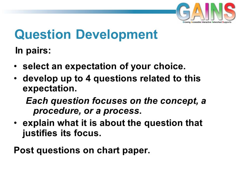 Question Development select an expectation of your choice.