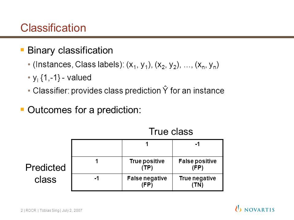 2 | ROCR | Tobias Sing | July 2, 2007 Classification  Binary classification (Instances, Class labels): (x 1, y 1 ), (x 2, y 2 ),..., (x n, y n ) y i {1,-1} - valued Classifier: provides class prediction Ŷ for an instance  Outcomes for a prediction: 1 1True positive (TP) False positive (FP) False negative (FP) True negative (TN) True class Predicted class