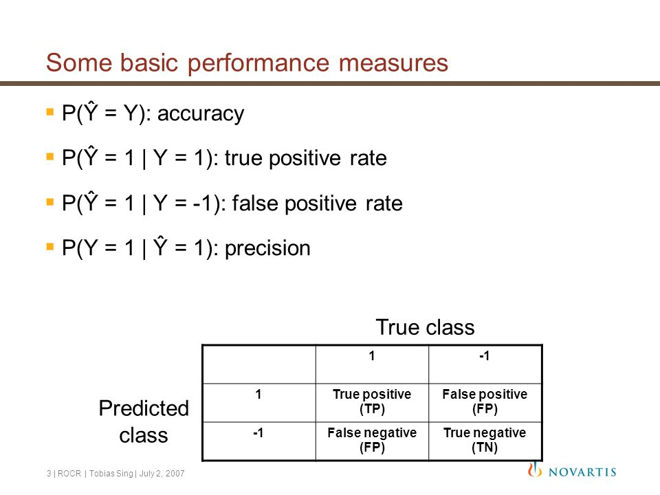 4   ROCR   Tobias Sing   July 2, 2007 Performance trade-offs  Often: Improvement in measure X  measure Y becomes worse  Idea: Visualize trade-off in a two-dimensional plot  Examples: True pos.