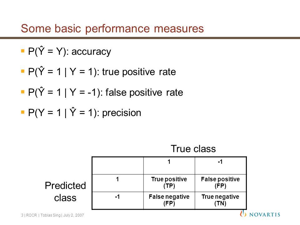 3 | ROCR | Tobias Sing | July 2, 2007 Some basic performance measures  P(Ŷ = Y): accuracy  P(Ŷ = 1 | Y = 1): true positive rate  P(Ŷ = 1 | Y = -1): false positive rate  P(Y = 1 | Ŷ = 1): precision 1 1True positive (TP) False positive (FP) False negative (FP) True negative (TN) True class Predicted class