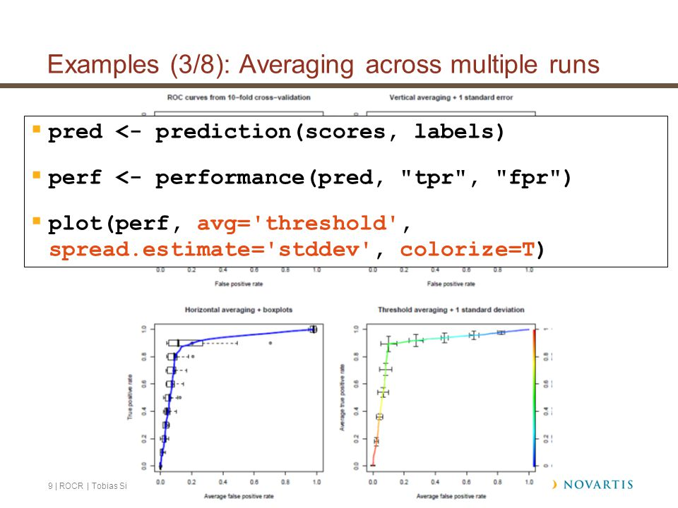 9 | ROCR | Tobias Sing | July 2, 2007 Examples (3/8): Averaging across multiple runs  pred <- prediction(scores, labels)  perf <- performance(pred, tpr , fpr )  plot(perf, avg= threshold , spread.estimate= stddev , colorize=T)
