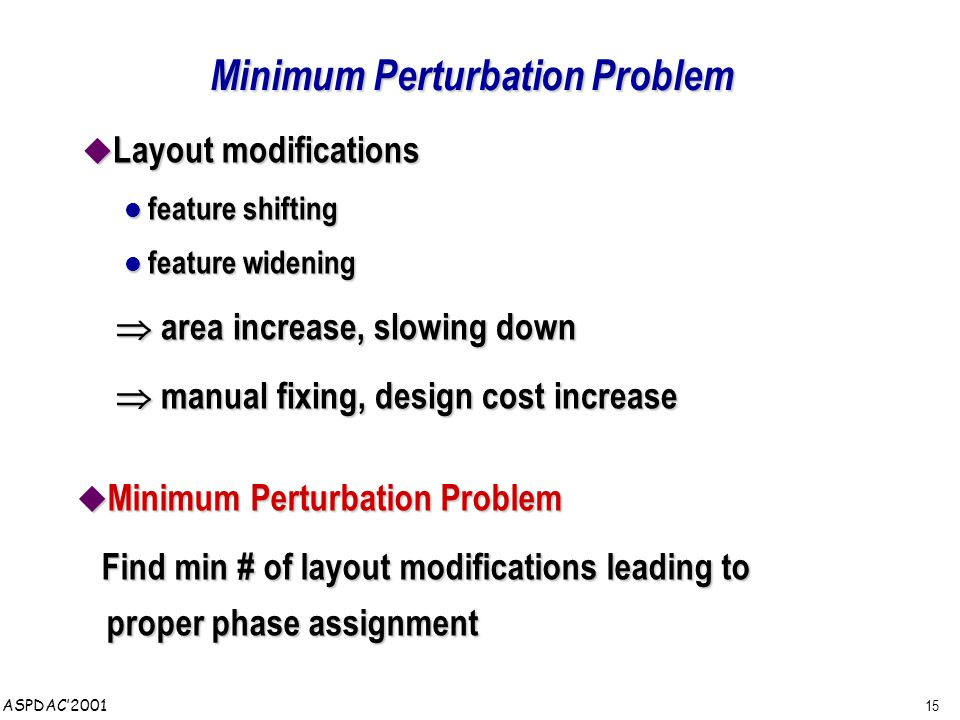 15 ASPDAC'2001 Minimum Perturbation Problem  Layout modifications feature shifting feature shifting feature widening feature widening  area increase, slowing down  area increase, slowing down  manual fixing, design cost increase  manual fixing, design cost increase  Minimum Perturbation Problem Find min # of layout modifications leading to proper phase assignment Find min # of layout modifications leading to proper phase assignment